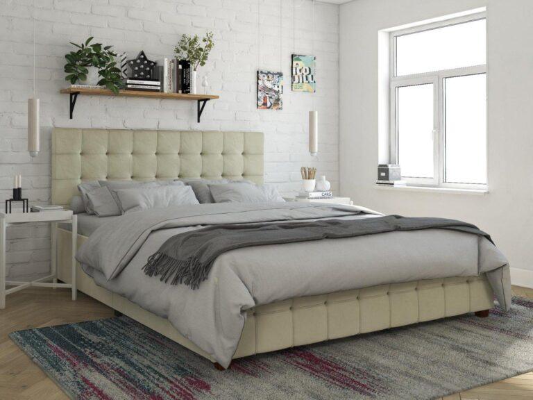 Ivory linen upholstered storage bed