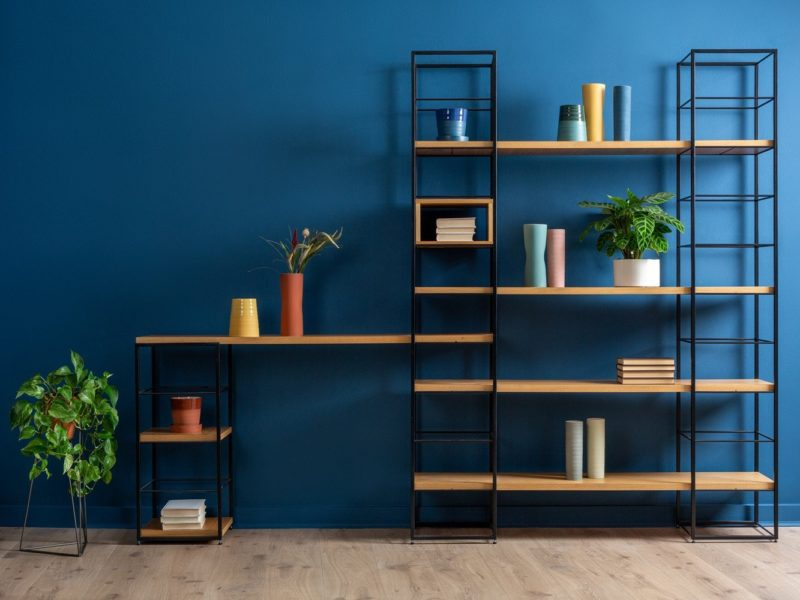 Black and oak modular shelving