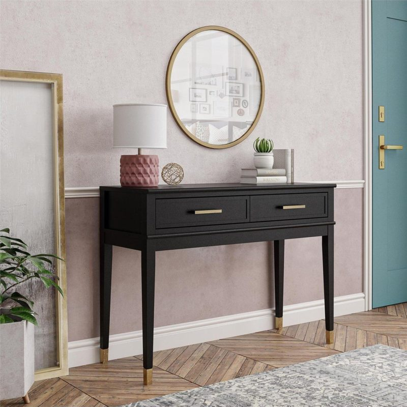 Black-painted console table