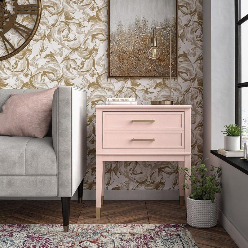 Pink painted 2-drawer side table
