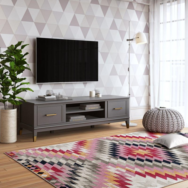 Grey-painted TV console