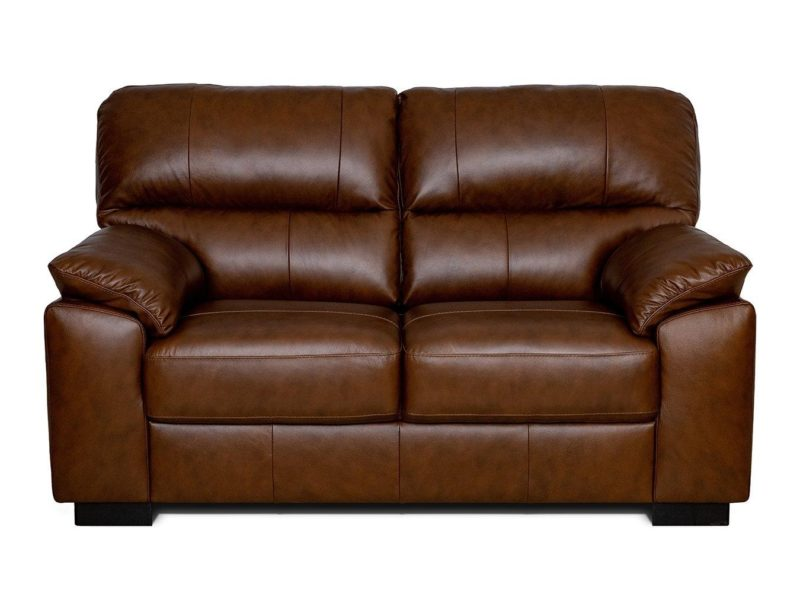 2-seater chestnut brown leather sofa