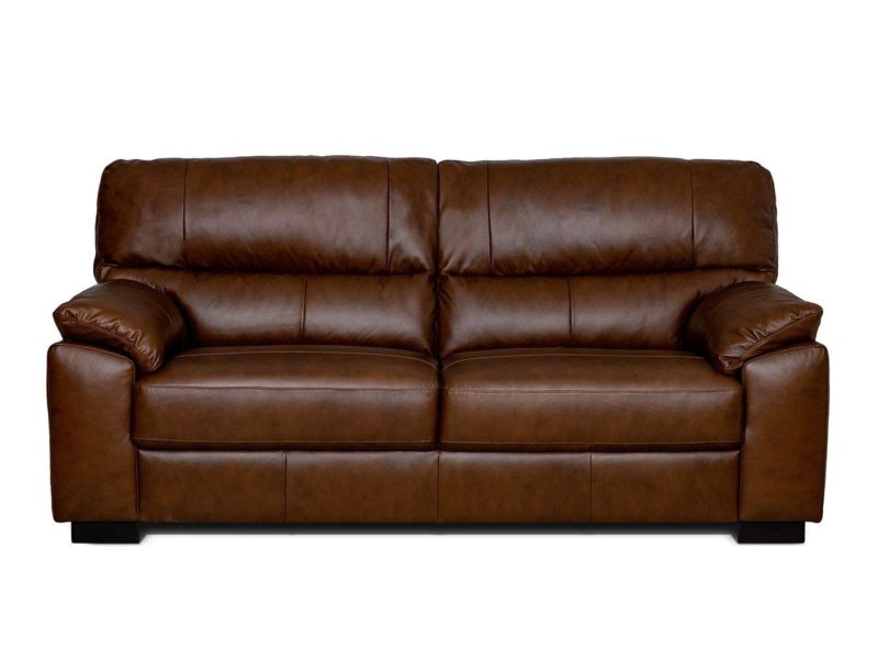 Chestnut 3-seater leather sofa