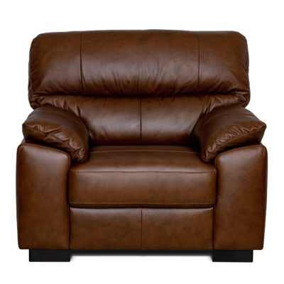 Chestnut brown leather armchair