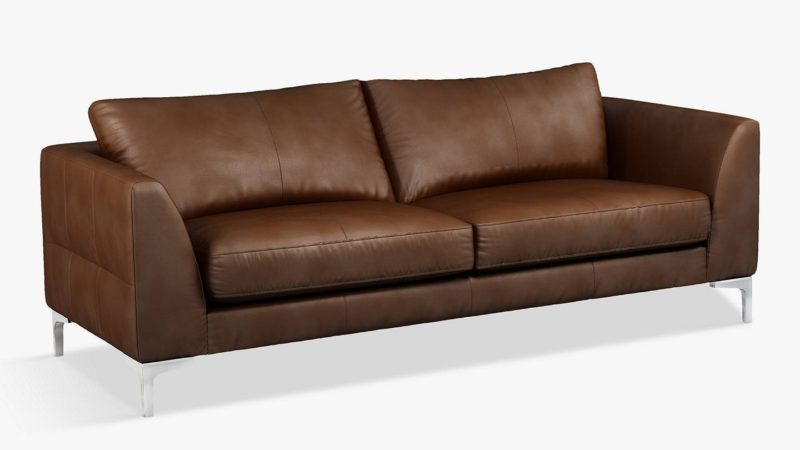 4-seater leather sofa with metal legs