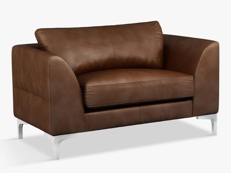 Leather snuggler sofa