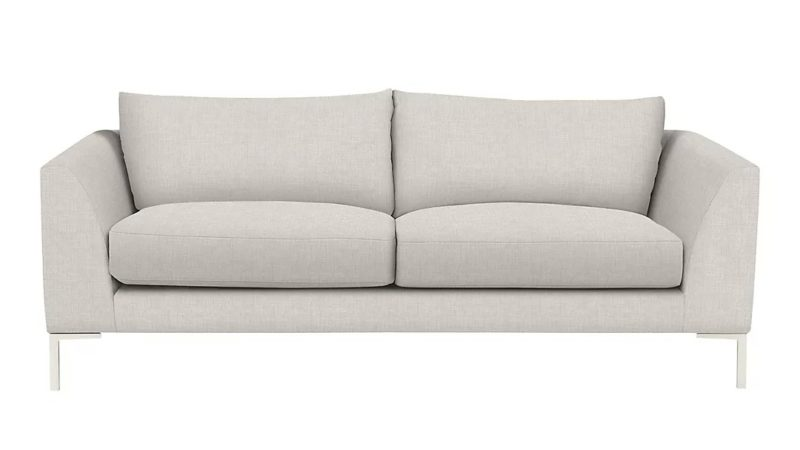 Grey fabric 2-seater sofa with metal legs