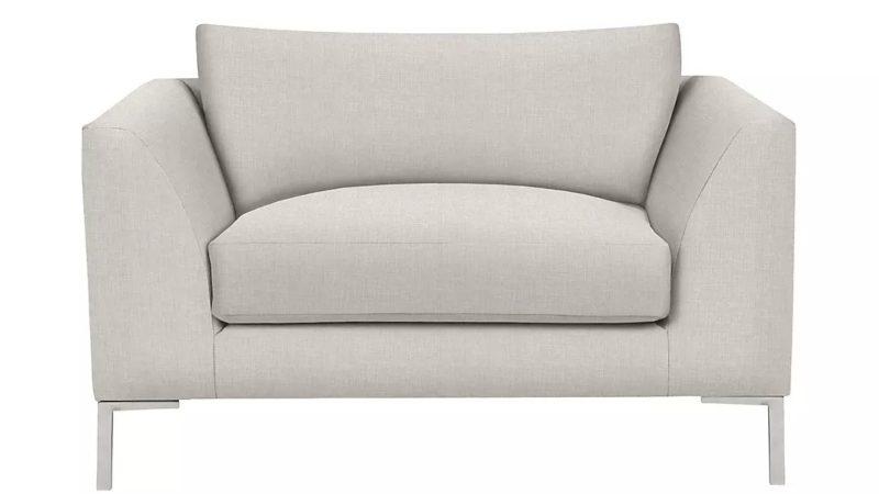 Grey fabric snuggler armchair