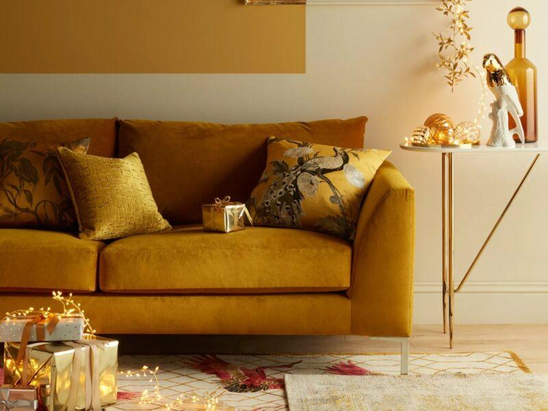 Mustard fabric sofa