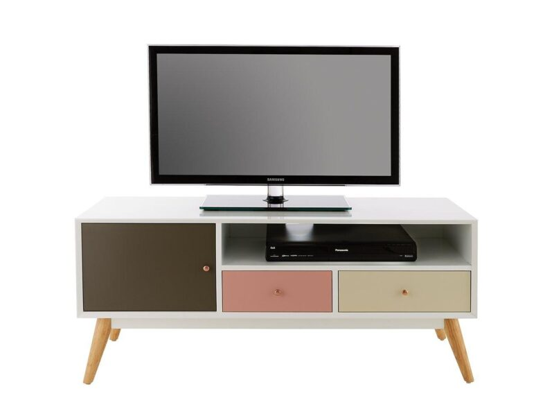 Retro-style tv stand with coloured doors