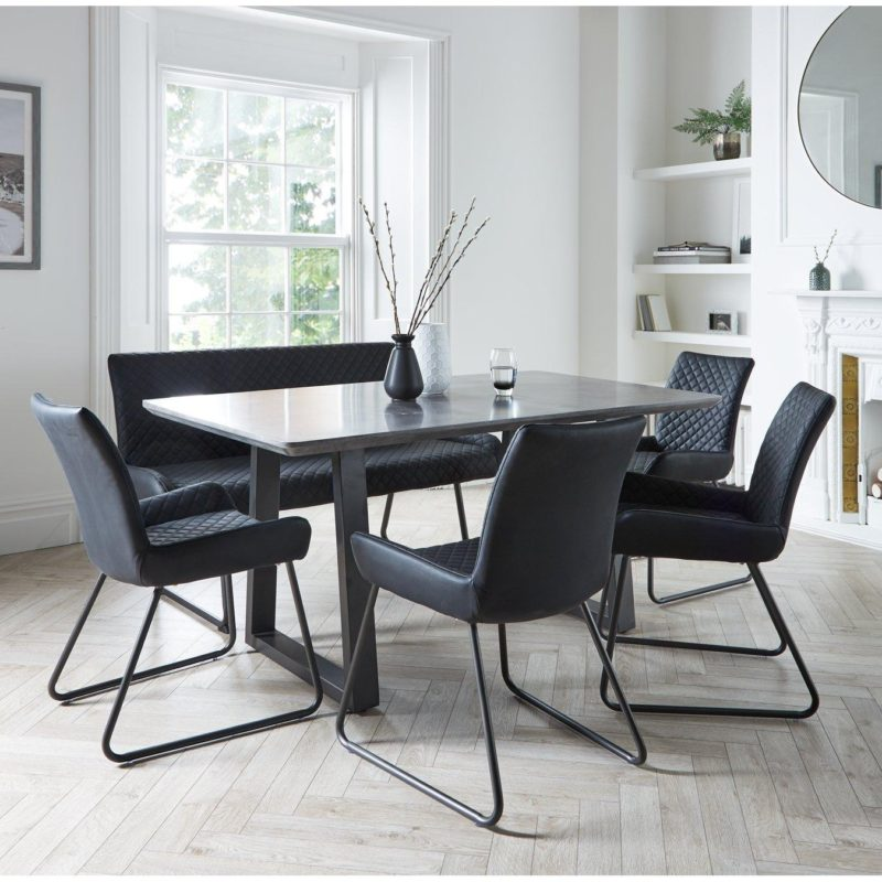 Concrete effect dining table with a bench and 4 dining chairs