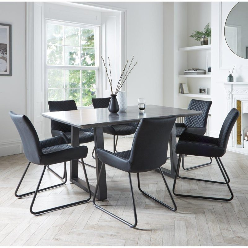 Concrete effect dining table with 6 chairs
