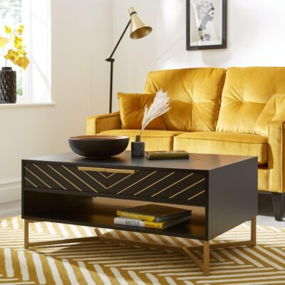 Black painted coffee table with gold chevron pattern and gold legs