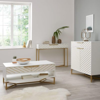 White living room furniture with chevron pattern doors & drawers