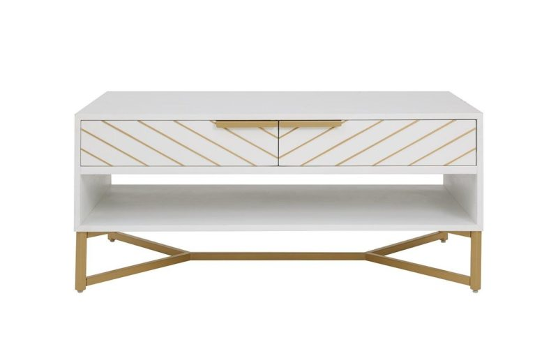 White/gold coffee table with chevron drawers