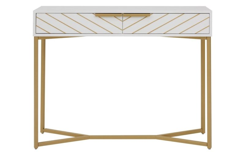 White console table with gold coloured metal legs and gold chevron pattern drawers