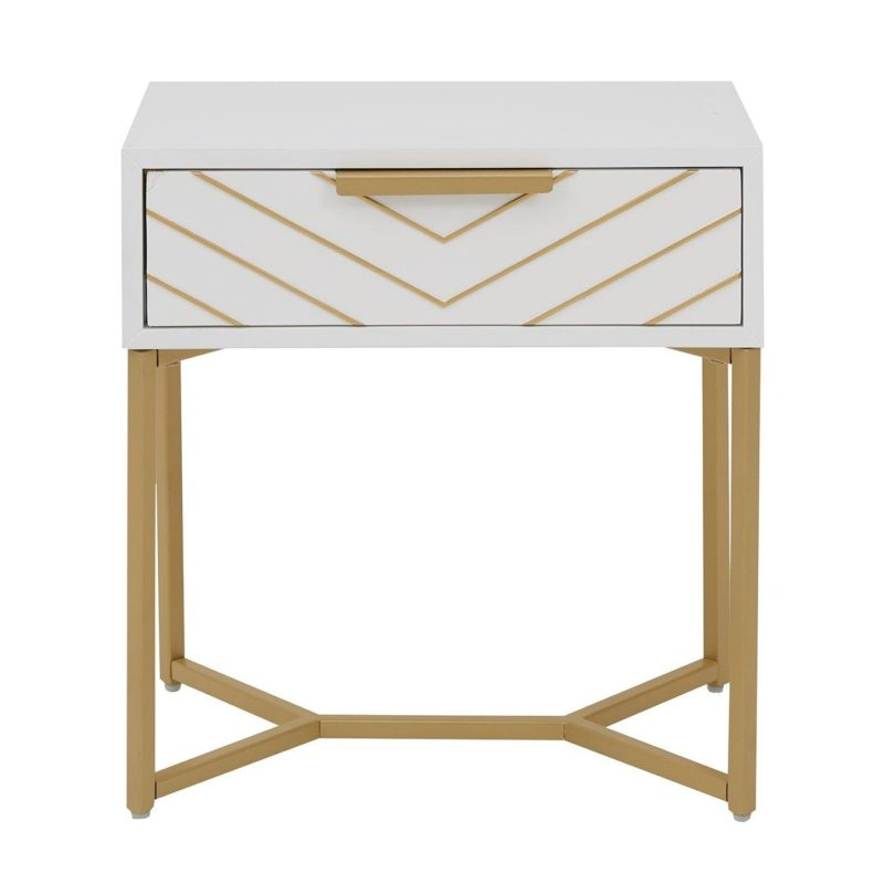 White/gold lamp table with chevron pattern drawer
