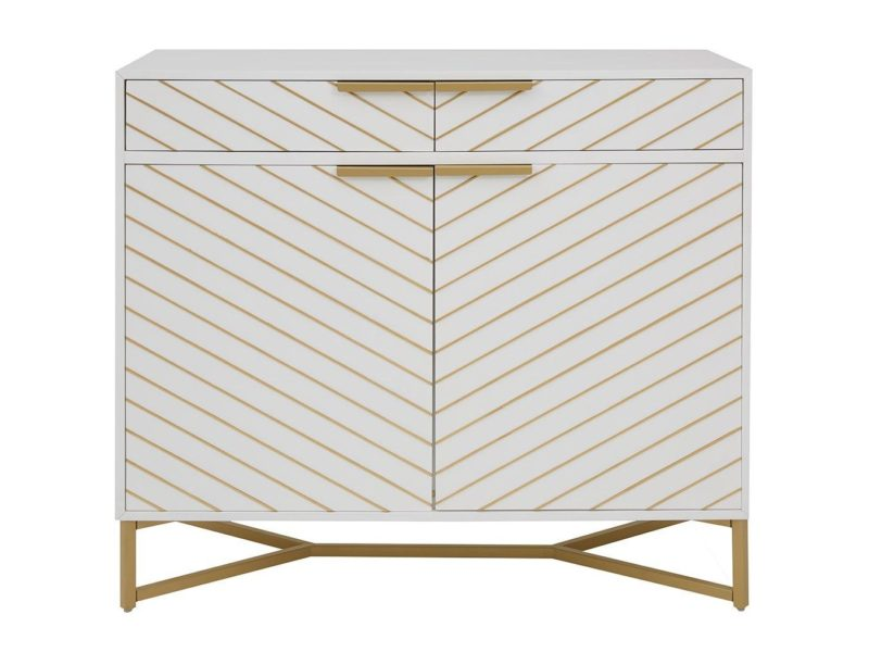 White/gold sideboard with chevron doors and drawers