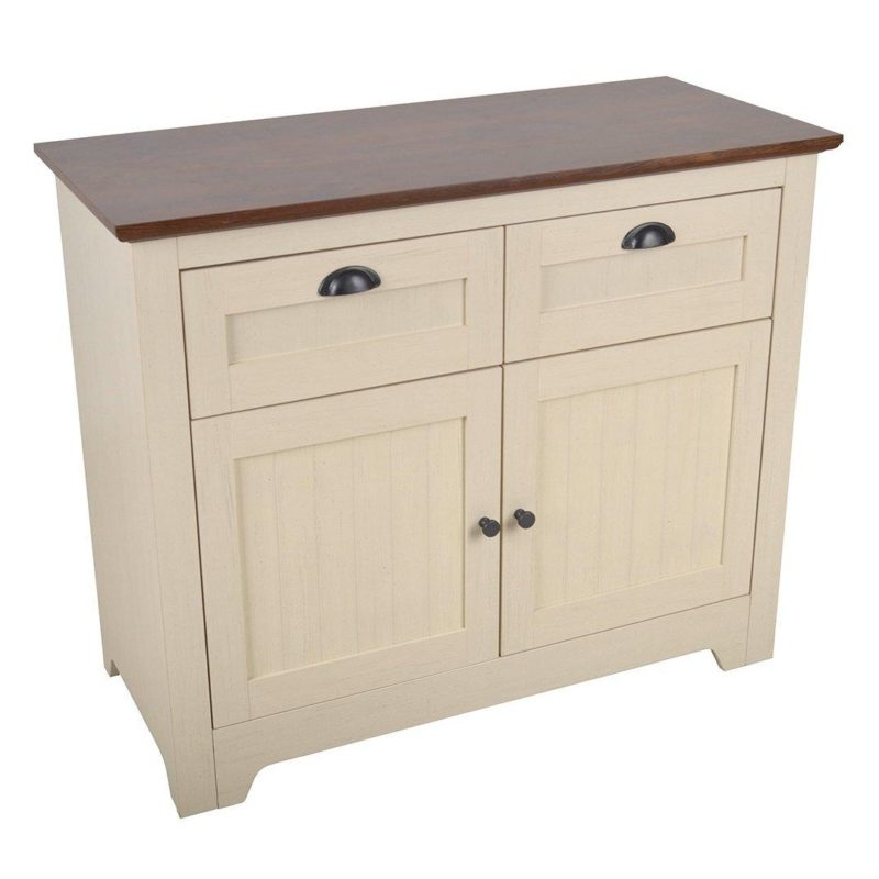 Ivory-painted 2-door sideboard with walnut top