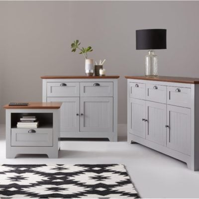 Grey painted sideboards with walnut tops