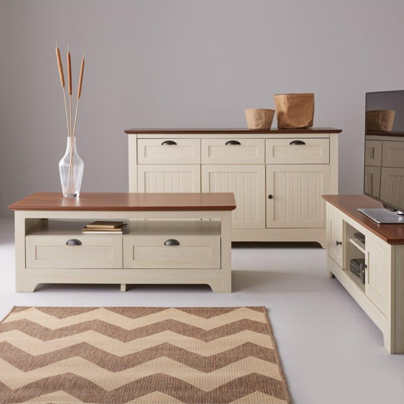 Cream sideboards with walnut tops