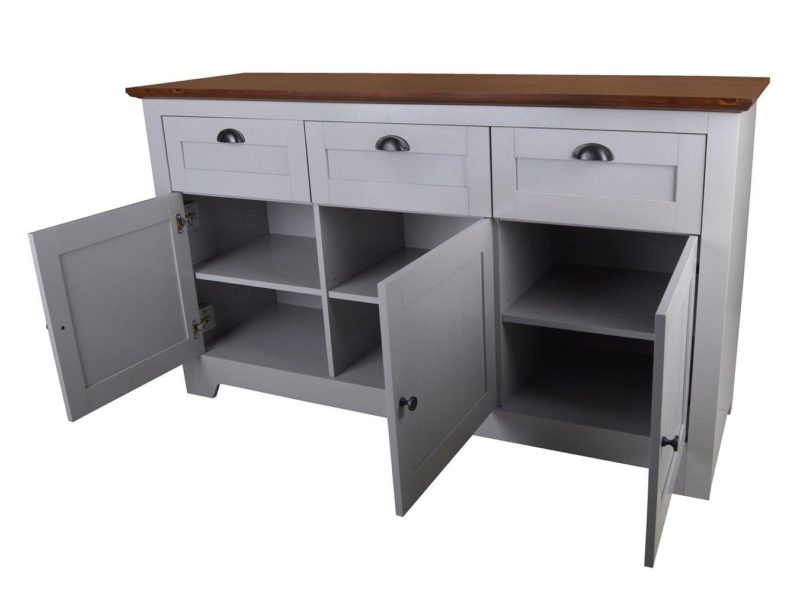 Grey-painted 3-door sideboard
