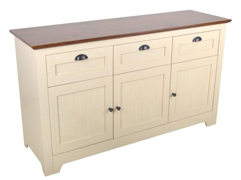 Cream-painted 3-door, 3-drawer sideboard