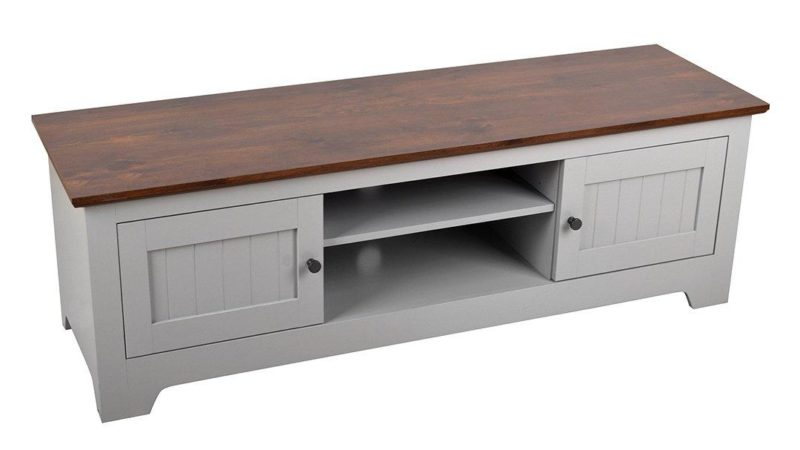 Grey-painted TV unit with walnut top