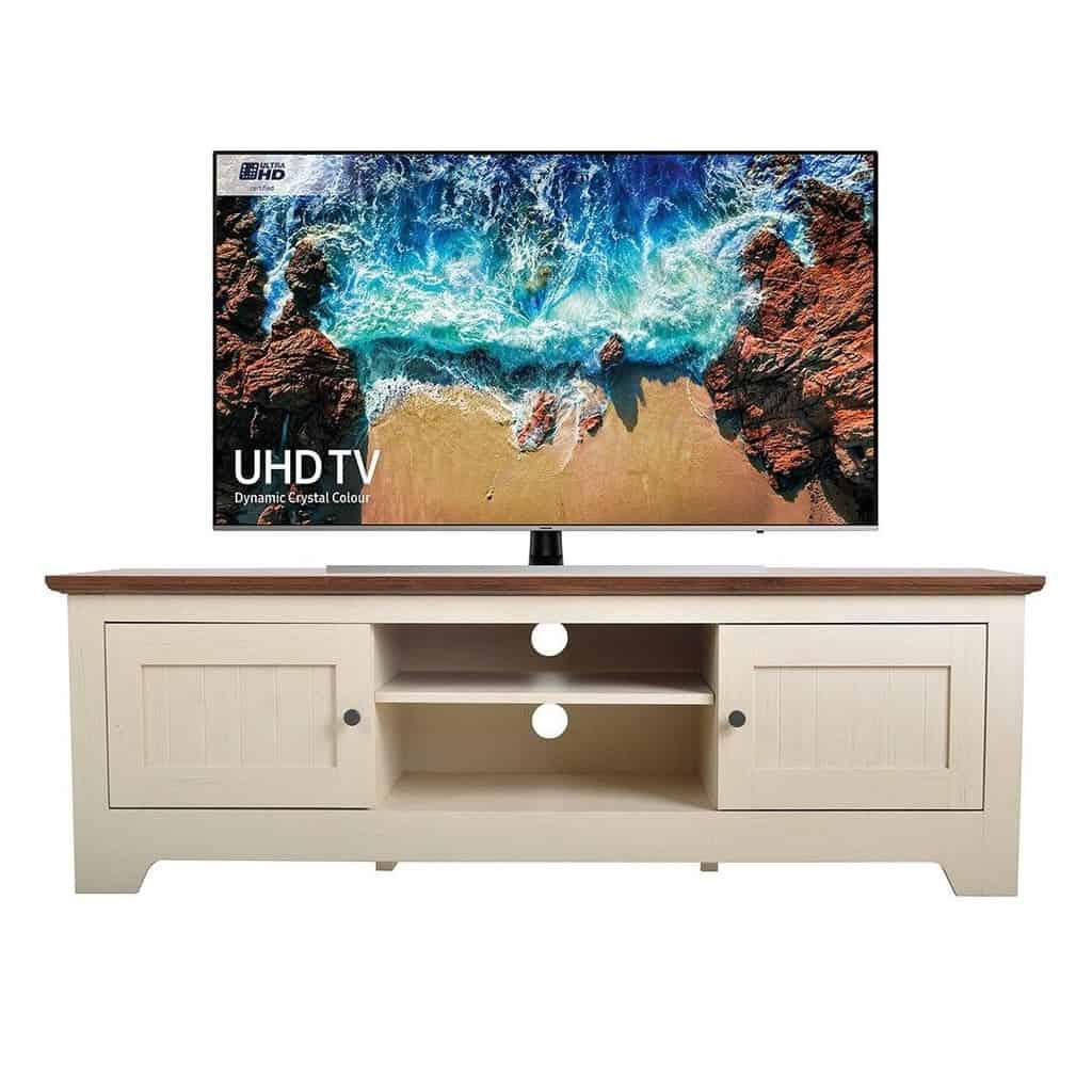 Ivory/walnut TV stand with storage