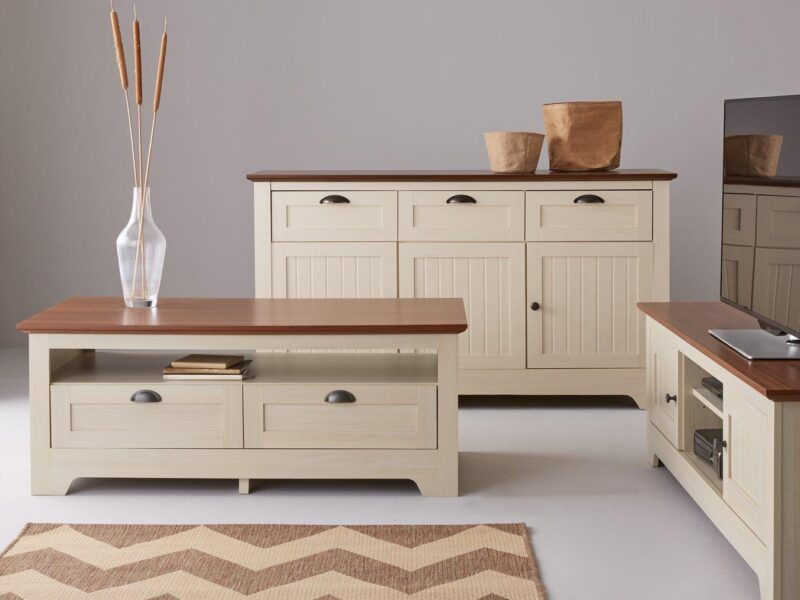 Cream painted sideboard with matching coffee table and tv stand