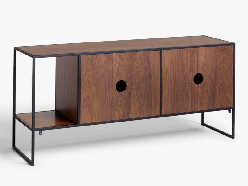 Walnut console rear with cable cut-outs