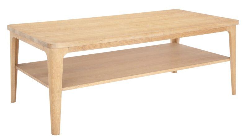Oak coffee table with shelf