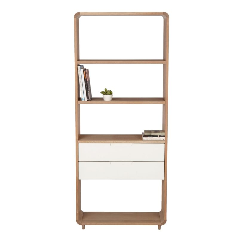Oak bookcase with two white drawers