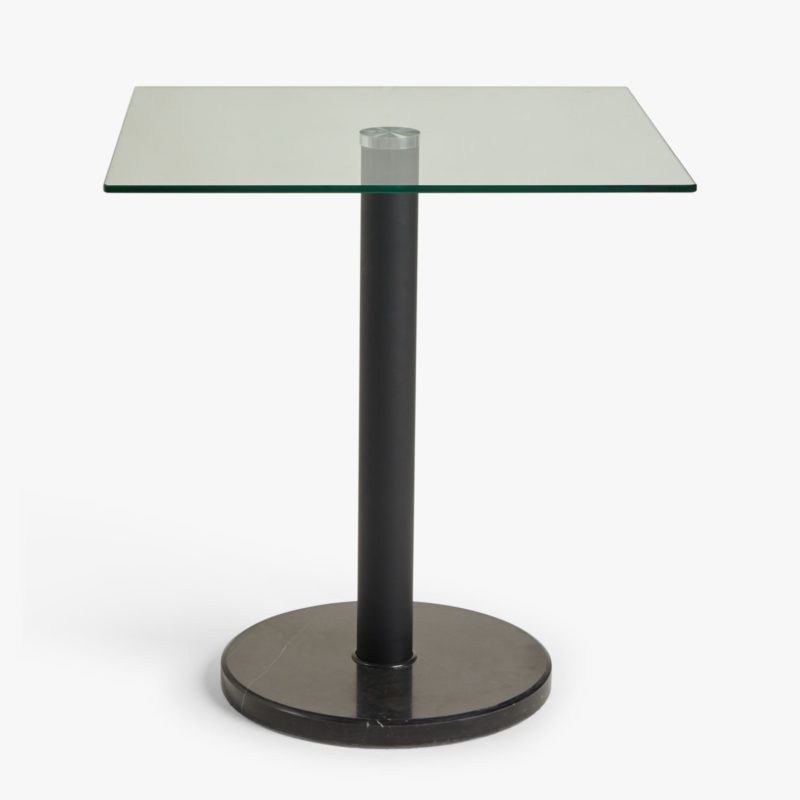 Square glass dining table with round marbled base