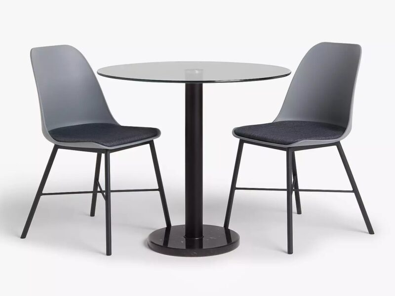 Round glass top dining table and 2 chairs