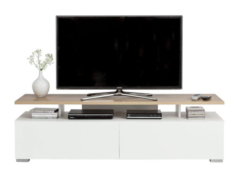 White TV console with floating woodgrain finish TV shelf