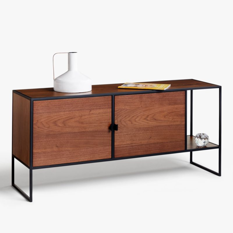 Walnut sideboard with black metal frame