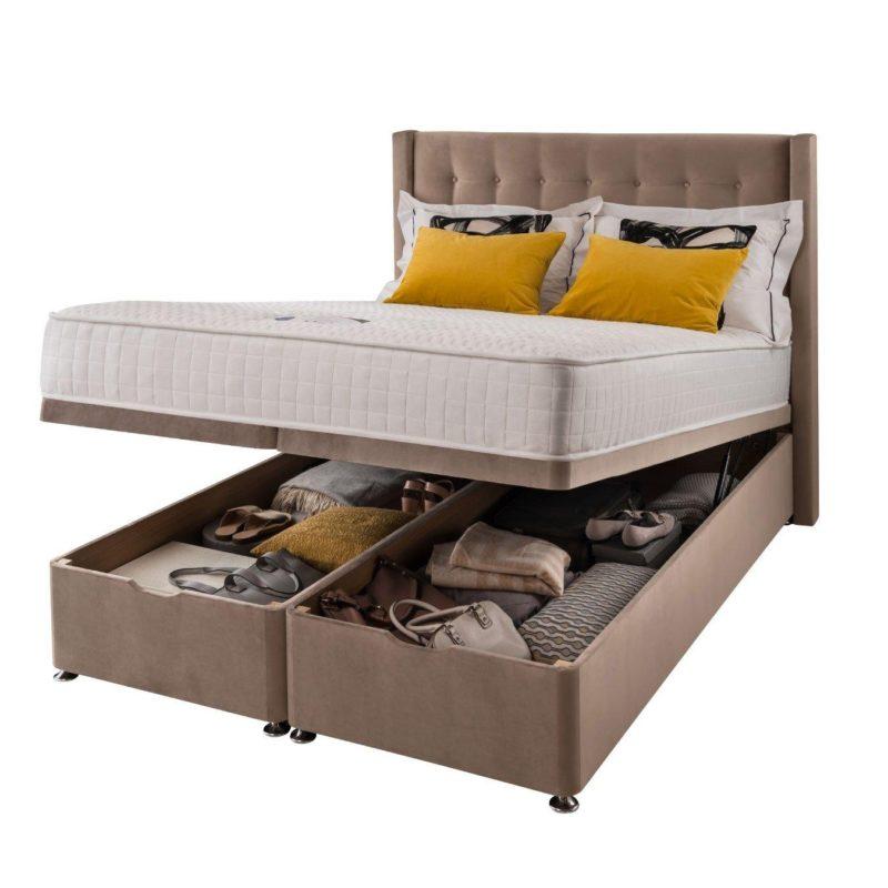 Velvet upholstered ottoman storage bed
