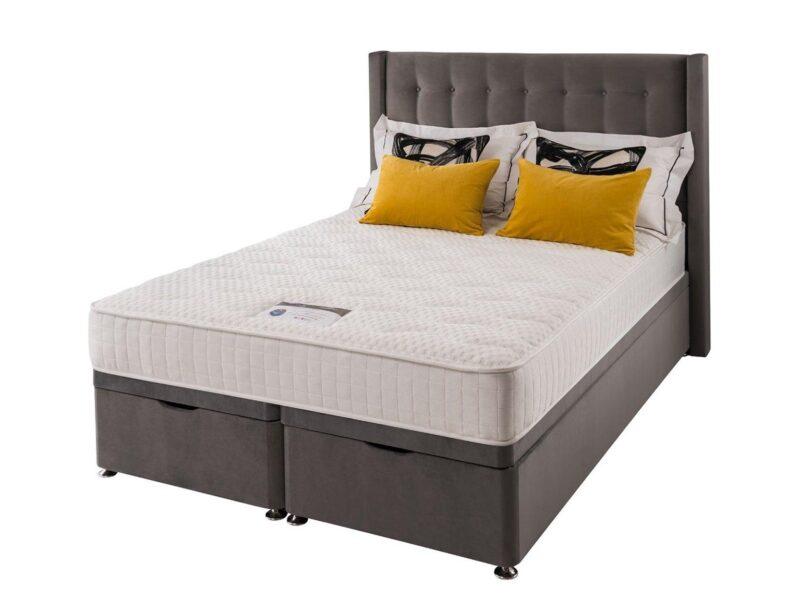 Velvet upholstered storage bed with topper mattress