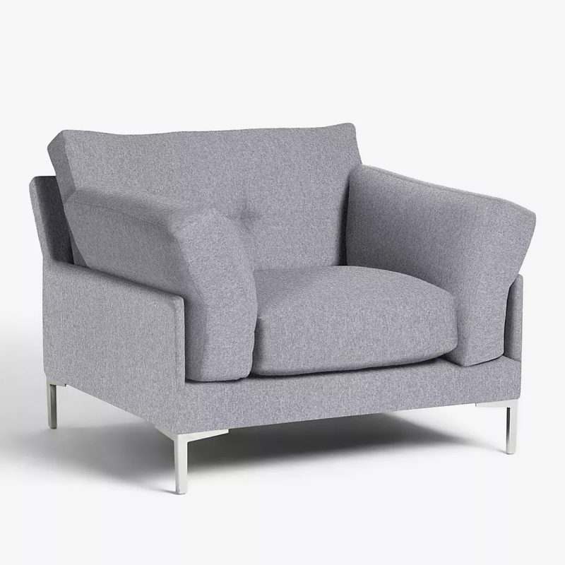 Contemporary grey fabric armchair with metal legs