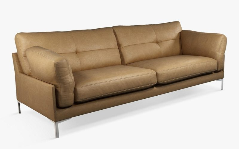 Light tan leather 4-seater sofa