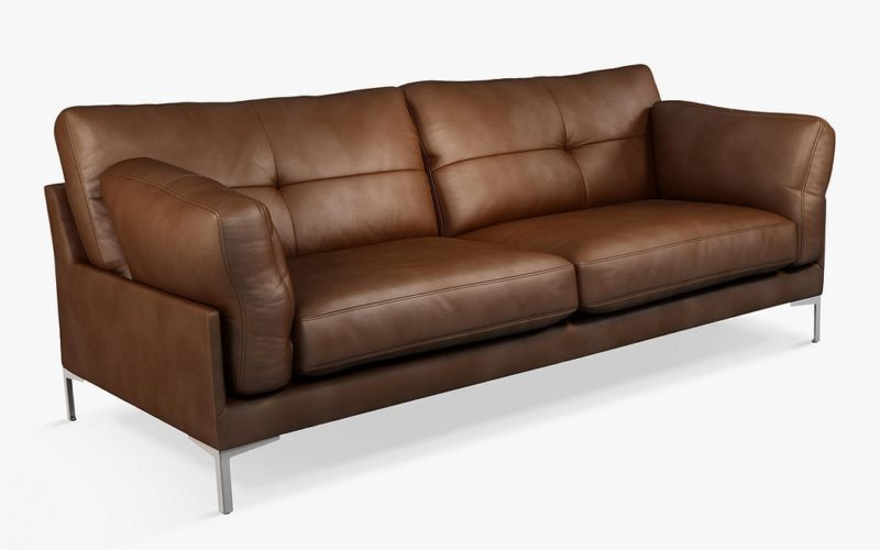 Tan leather 3-seater sofa