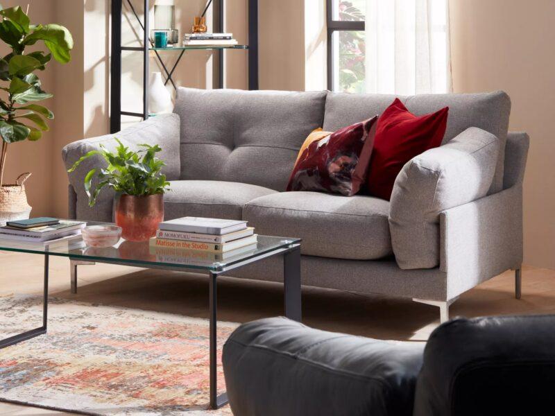 Modern grey fabric upholstered sofa