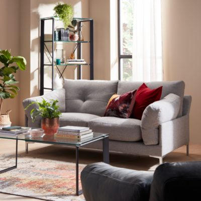 Modern grey fabric upholstered sofa