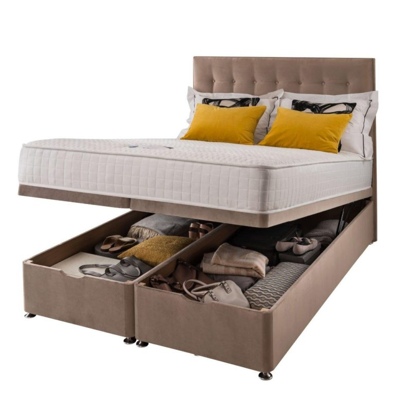 Velvet ottoman bed with memory foam mattress