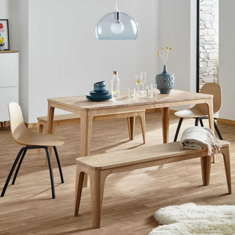 Extending oak dining table, bench and chairs