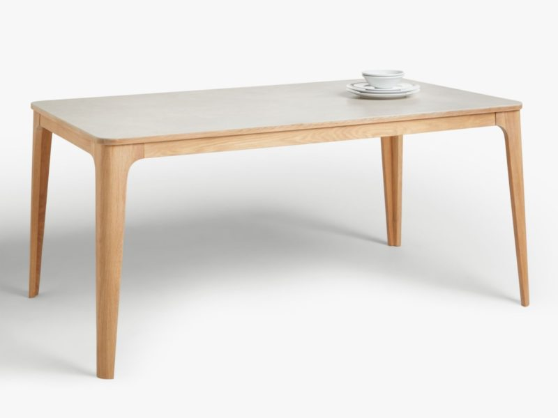 Oak dining table with grey ceramic top