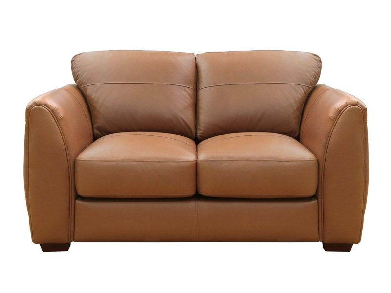 2-seater tan leather sofa