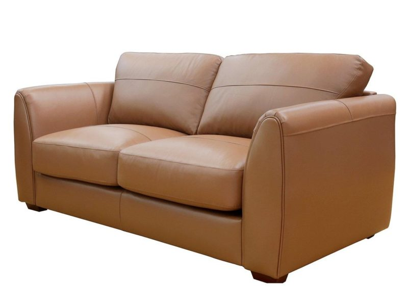 3-seater tan leather sofa