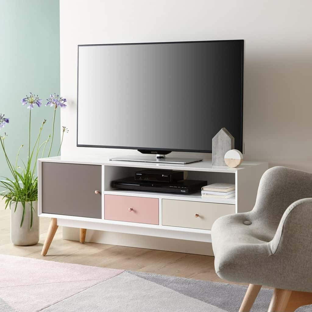 Retro TV stand with grey/pink drawers